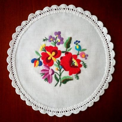 embroidered crocheted doily