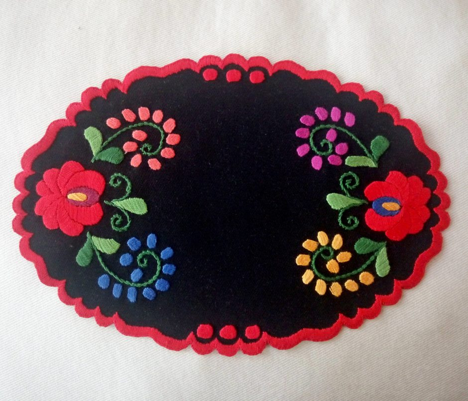 oval embroidered matyo doily