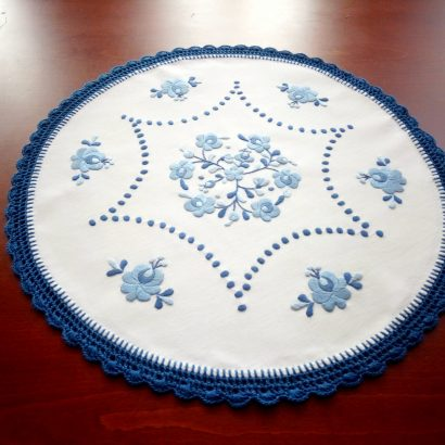 embroidered blue matyo tablecloth hungary