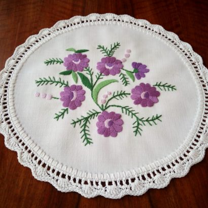 small round embroidered tablecloth