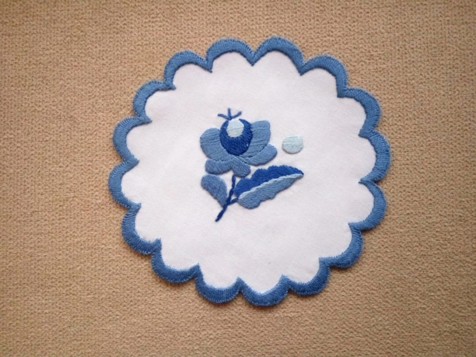 blue embroidery