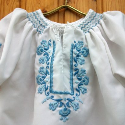 embroidered blue girl blouse