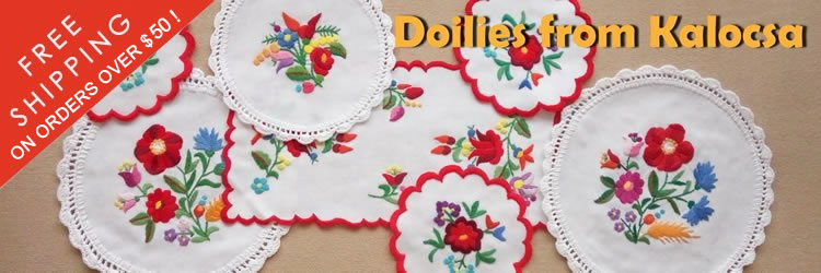 Embroidered doilies from Kalocsa, Hungary