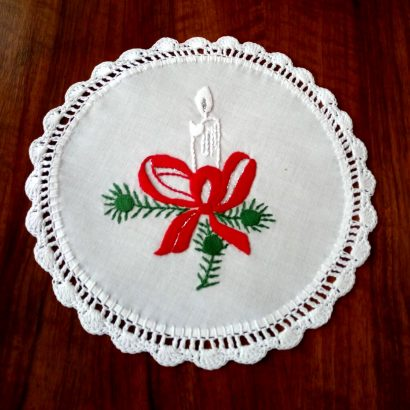 embroidered christmas doily