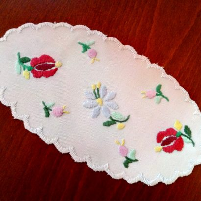 oval embroidered doily